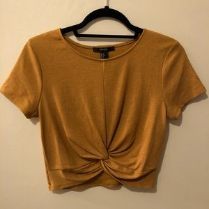 Cropped beige knotted top